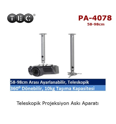 TEC PA-4078 Projeksiyon Askı Aparatı (58-98cm)