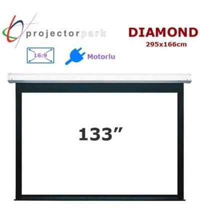 PROJECTORPARK Diamond Motorlu Projeksiyon Perdesi (295x166cm)