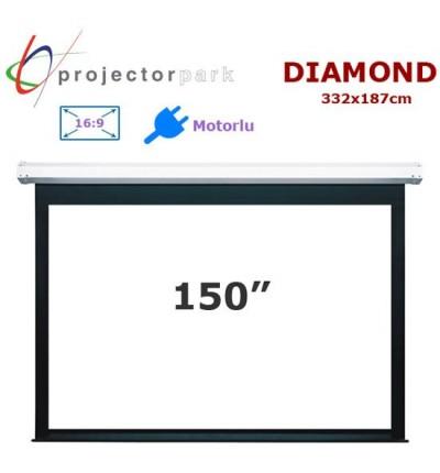 PROJECTORPARK Diamond Motorlu Projeksiyon Perdesi (332x187cm)
