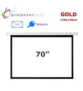 PROJECTORPARK Gold Motorlu Projeksiyon Perdesi (178x178cm)