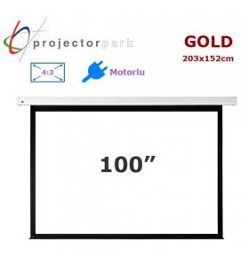 PROJECTORPARK Gold Motorlu Projeksiyon Perdesi (203x152cm)