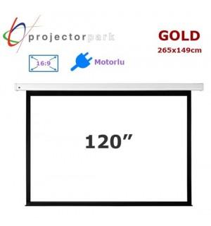 PROJECTORPARK Gold Motorlu Projeksiyon Perdesi (265x149cm)
