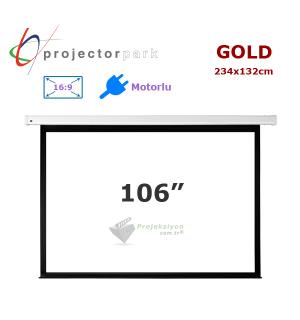 PROJECTORPARK Gold Motorlu Projeksiyon Perdesi (234x132cm)