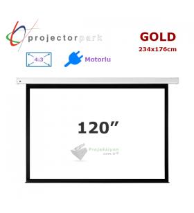 PROJECTORPARK Gold Motorlu Projeksiyon Perdesi (234x176cm)