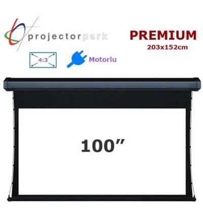 PROJECTORPARK Premium Motorlu Projeksiyon Perdesi (203x152cm)