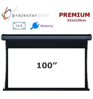 PROJECTORPARK Premium Motorlu Projeksiyon Perdesi (221x125cm)