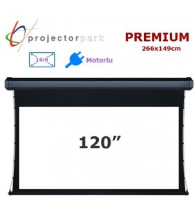 PROJECTORPARK Premium Motorlu Projeksiyon Perdesi (266x149cm)