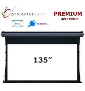 Projectorpark Premium Motorlu Projeksiyon Perdesi (298x168cm)