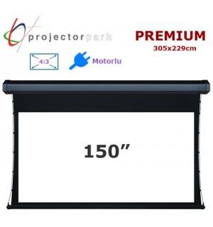 Projectorpark Premium Motorlu Projeksiyon Perdesi 305x229cm
