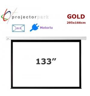 PROJECTORPARK Gold Motorlu Projeksiyon Perdesi (295x166cm)