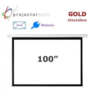 PROJECTORPARK Gold Motorlu Projeksiyon Perdesi (221x125cm)