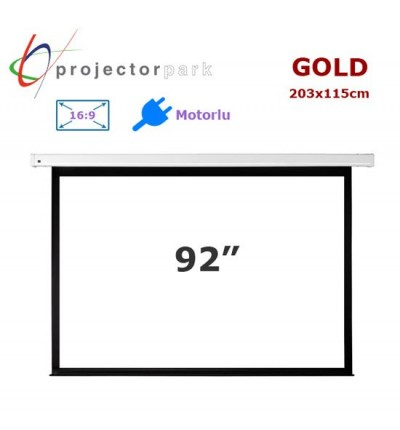 PROJECTORPARK Gold Motorlu Projeksiyon Perdesi (203x115cm)