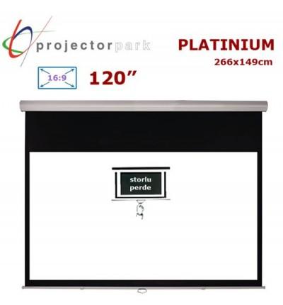 PROJECTORPARK Platinium Storlu Projeksiyon Perdesi (266x149cm)