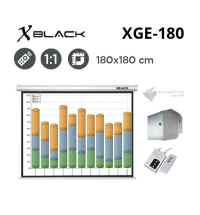 XBLACK XGE-180 Motorlu Projeksiyon Perdesi (180x180cm)