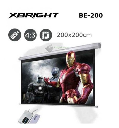 XBRIGHT BE-200 Motorlu Projeksiyon Perdesi (200x200cm)