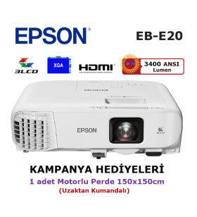 EPSON EB-E20 Projeksiyon Cihazı (150x150cm Motorlu Perde Hediyeli)
