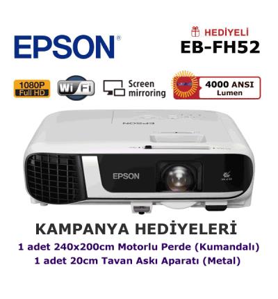 EPSON EB-FH52 KAMPANYA (240x200cm Motorlu Perde + Askı Hediyeli)