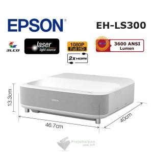 "Epson EH-LS300W Lazer Ev Sinema Projeksiyonu + Epson ELPSC35 100"" Perde"