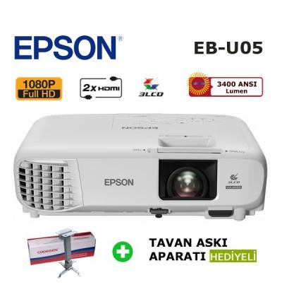 EPSON EB-U05 Full HD Projeksiyon Cihazı (Tavan Askı Aparatı HEDİYELİ)