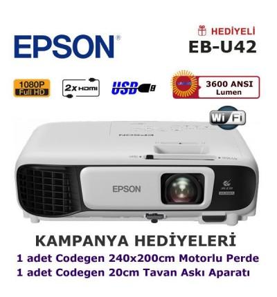 EPSON EB-U42 KAMPANYA (240x200cm Motorlu Perde + Askı Hediyeli)