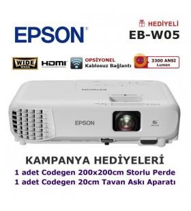 EPSON EB-W05 HD Projektör (200x200cm Storlu Perde + Askı Aparatı Hediyeli)