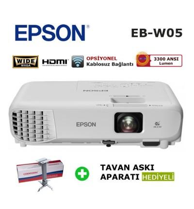 EPSON EB-W05 HD Projeksiyon Cihazı (Tavan Askı Aparatı HEDİYELİ)