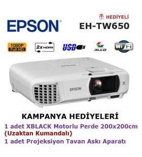 EPSON EH-TW650 Projeksiyon KAMPANYA (200x200cm Motorlu Perde + Tavan Askı Aparatı Hediyeli)