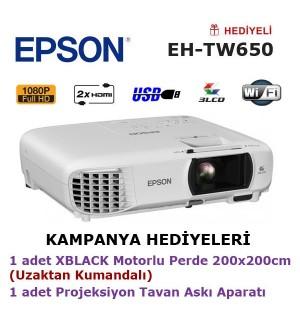EPSON EH-TW650 (200x200cm Motorlu Perde + Tavan Askı Aparatı Hediyeli)