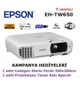EPSON EH-TW650 (200x200cm Storlu Perde + Tavan Askı Aparatı Hediyeli)
