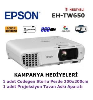 EPSON EH-TW650 Projeksiyon KAMPANYA (200x200cm Storlu Perde + Tavan Askı Aparatı Hediyeli)