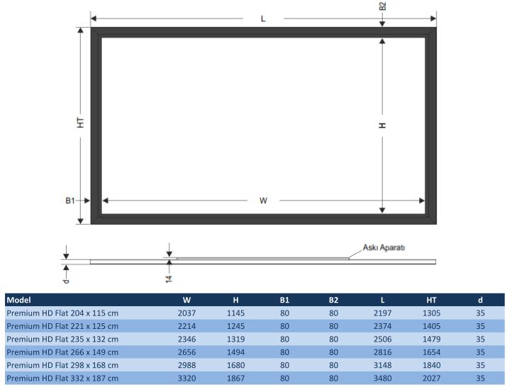 projectorpark hd flat sabit çerçeveli projeksiyon perdesi
